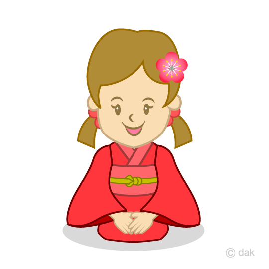 着物を着た女の子の無料イラスト素材イラストイメージ