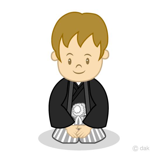 紋付袴の男の子の無料イラスト素材イラストイメージ