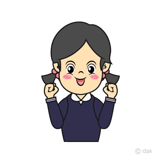 明るく元気な小学生の女の子の無料イラスト素材イラストイメージ