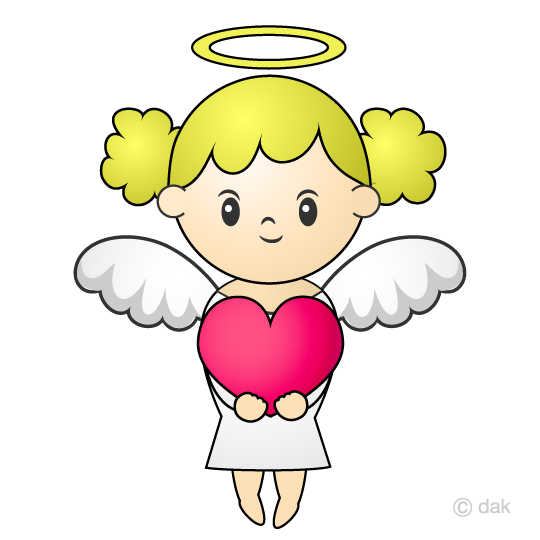 Angel with a heart clip art