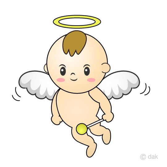 かわいい赤ちゃんの天使の無料イラスト素材イラストイメージ