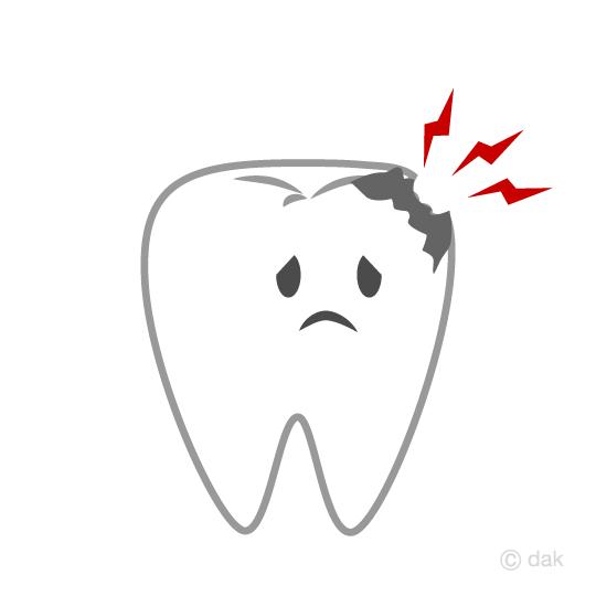 虫歯の歯キャラクターの無料イラスト素材イラストイメージ