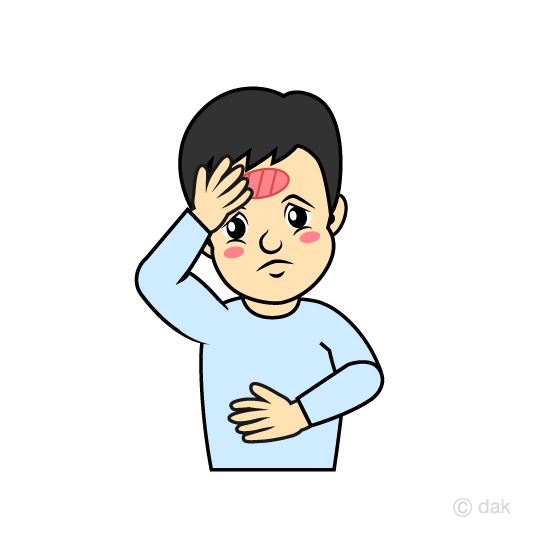 Boy with fever Bip clip art