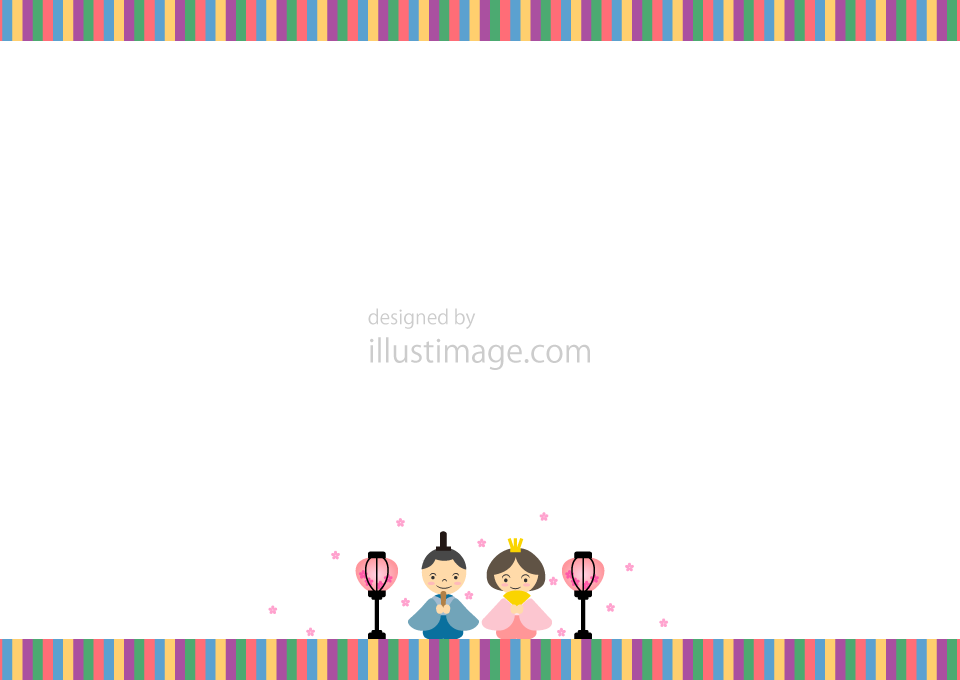 Japanese Hinamatsuri(doll festival) frame illustration