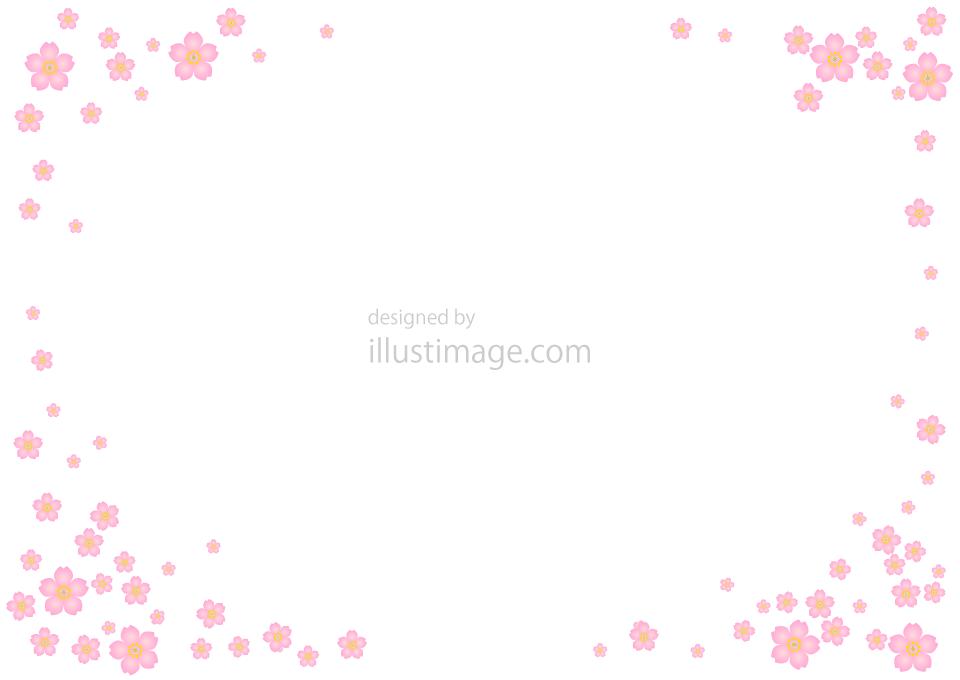 桜吹雪のフレームの無料イラスト素材イラストイメージ