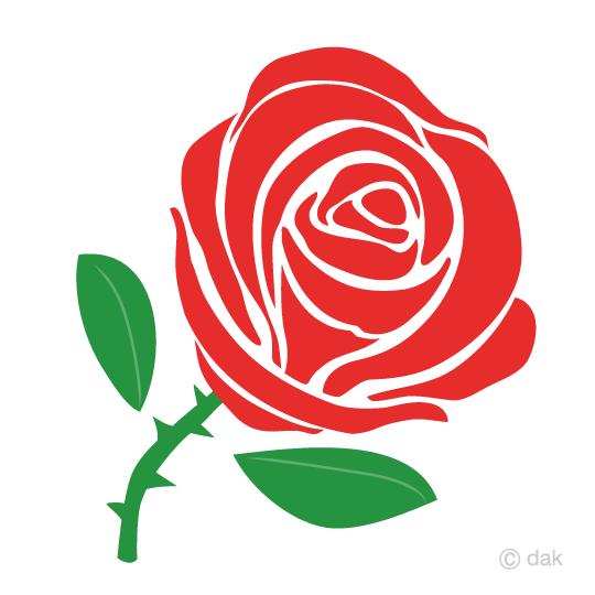 赤バラのシルエットの無料イラスト素材イラストイメージ