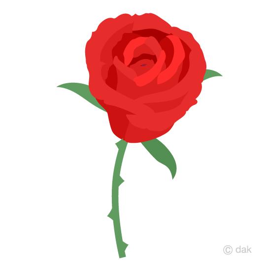 一輪の赤いバラの花の無料イラスト素材イラストイメージ