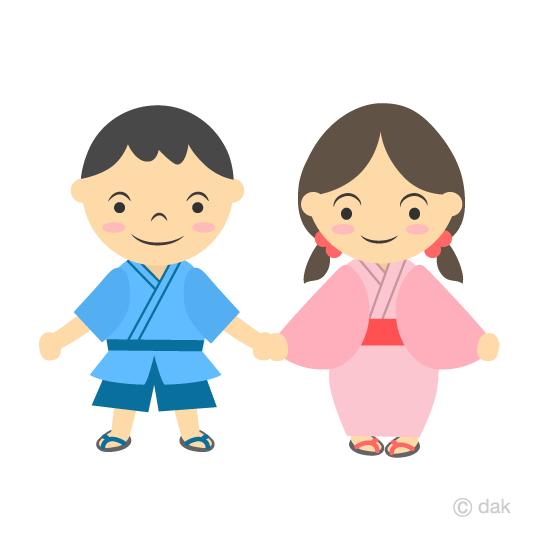 夏祭りの小さな子供の無料イラスト素材イラストイメージ