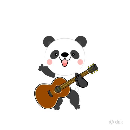 Cute panda guitarist clip art