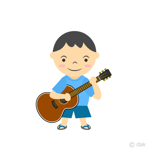 A little boy's guitarist clip art
