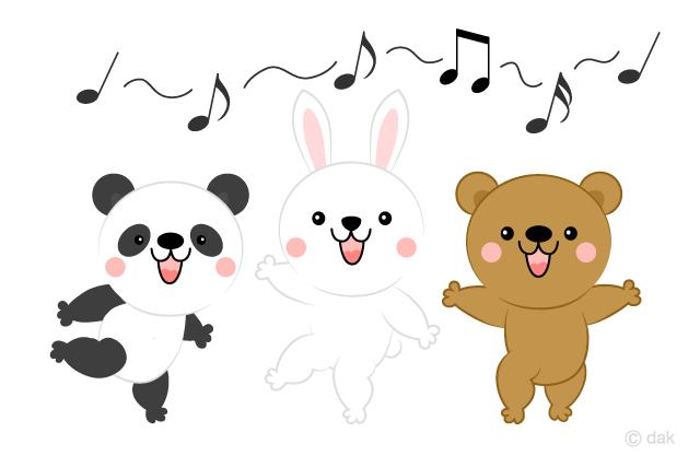 合唱する可愛い動物の無料イラスト素材イラストイメージ