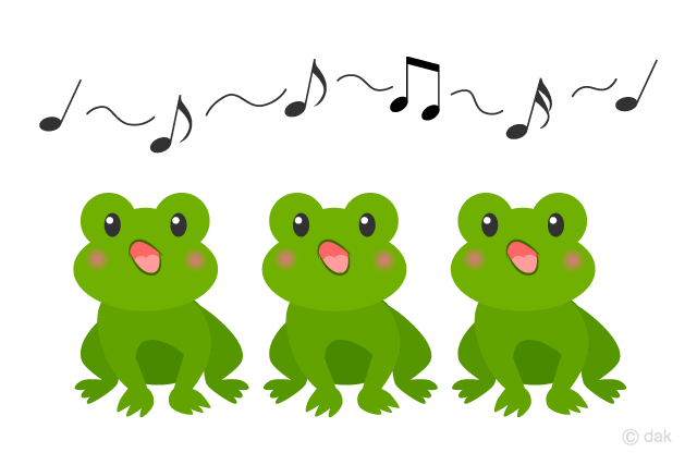 "Bild zum Lied ""Froschgesang"" / 「カエルの合唱」. Runterladbar unter: https://illustimage.com/?id=2783"