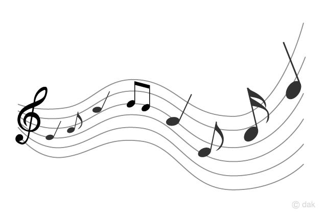 音楽が広がる音符の無料イラスト素材イラストイメージ
