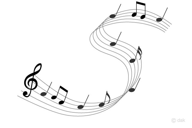 躍動する音楽の音符の無料イラスト素材イラストイメージ