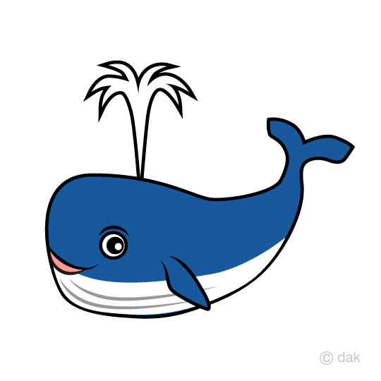 Whale character blowing the tide clip art