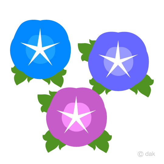 Red blue purple morning glory clip art