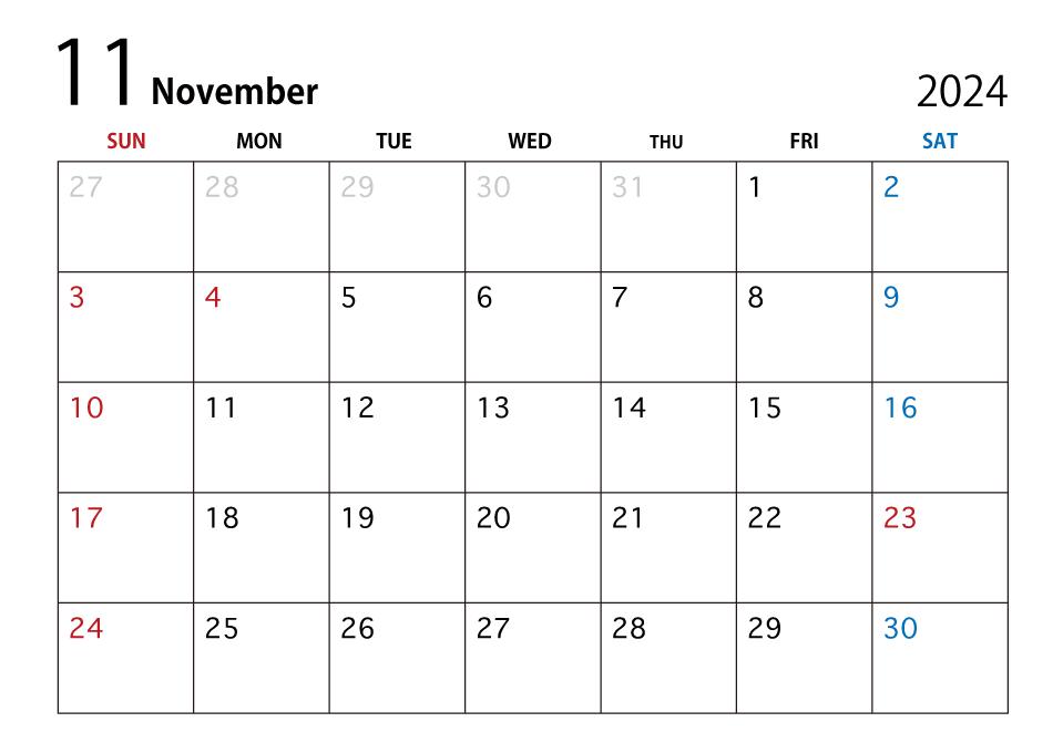 2020年11月カレンダーの無料イラスト素材 イラストイメージ