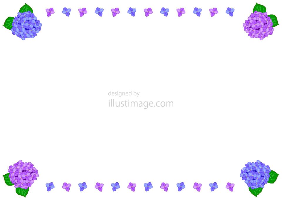 アジサイ枠の無料イラスト素材イラストイメージ