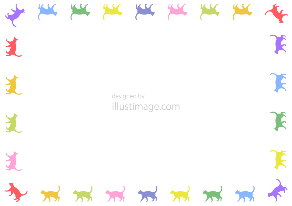 Cats colorful frame illustration