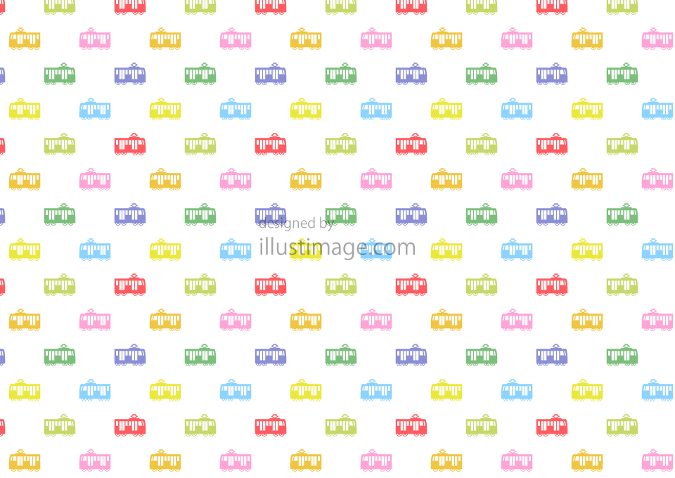 Cute train pattern wallpaper illustration