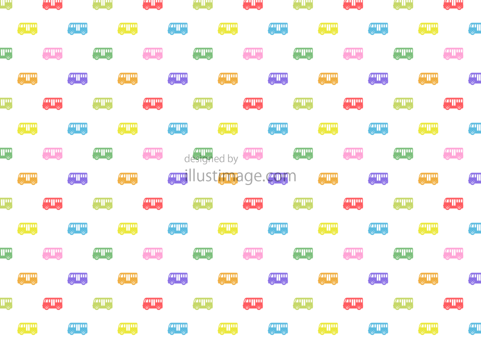 Colorful bus pattern wallpaper illustration