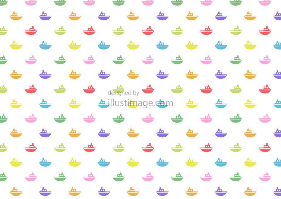 Colorful ship pattern wallpaper illustration