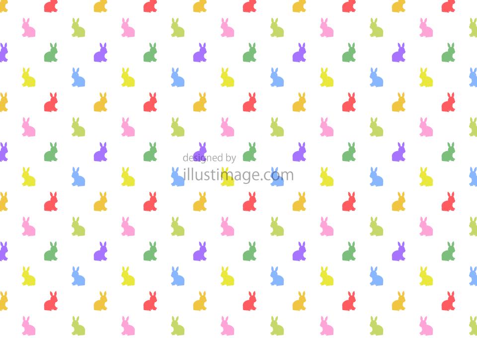 カラフルなウサギ柄の壁紙の無料イラスト素材イラストイメージ