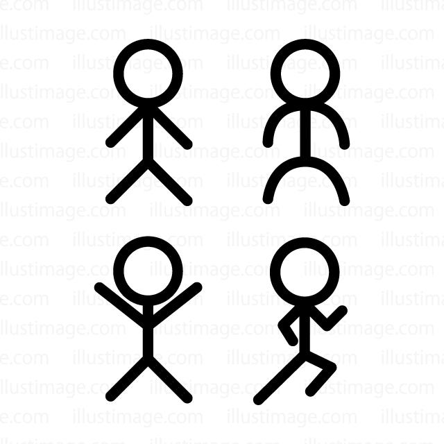 棒人間マークの無料イラスト素材イラストイメージ