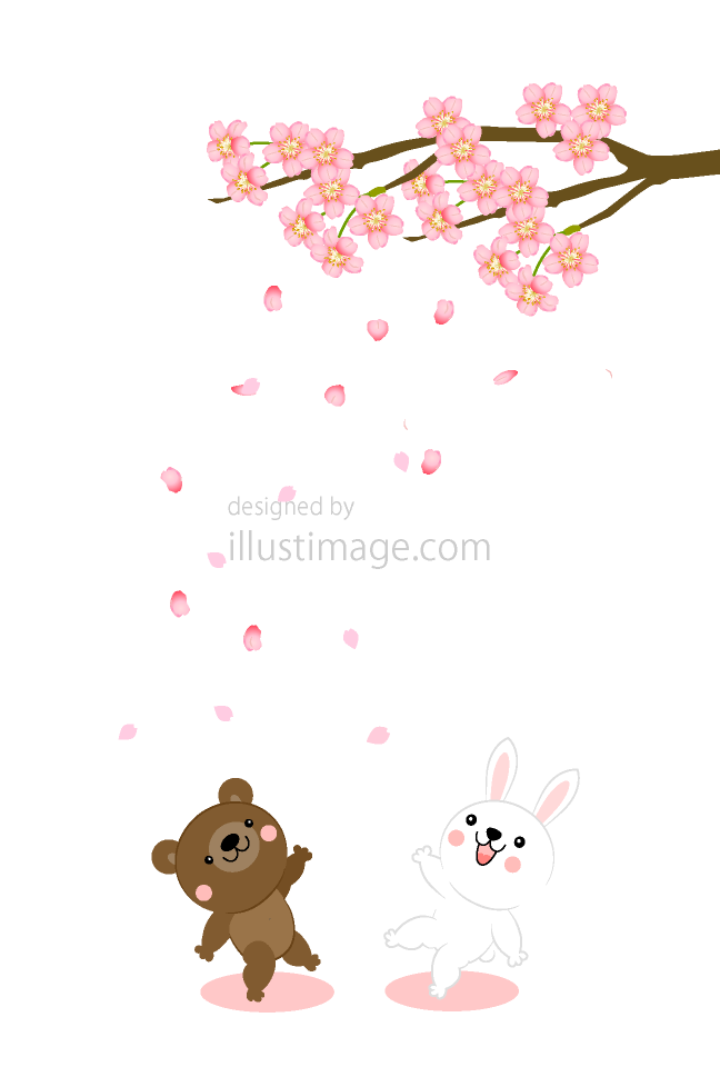 Bear and rabbit flower card