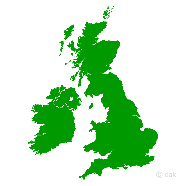 UK and Ireland map silhouette