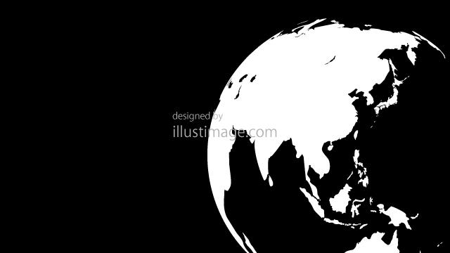 白黒シルエットの地球の無料イラスト素材イラストイメージ