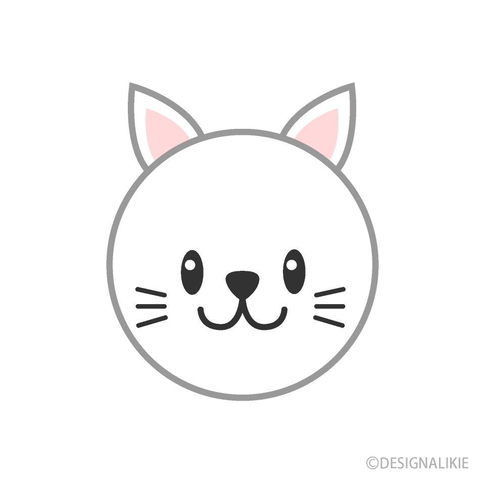 可愛い猫の顔の無料イラスト素材 イラストイメージ