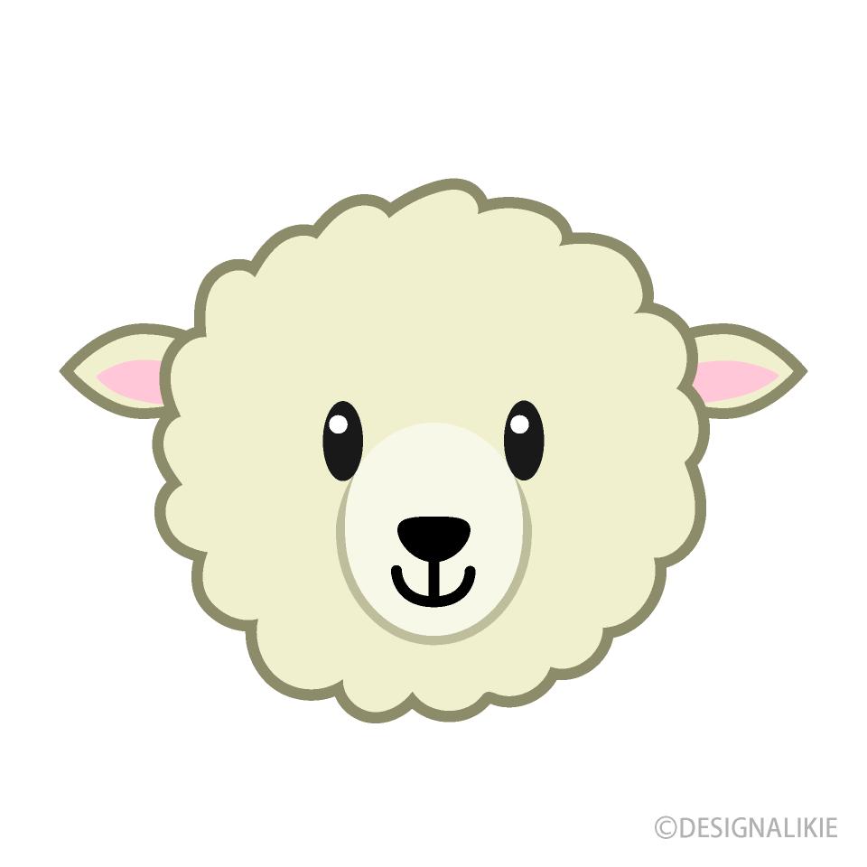 可愛い羊の顔の無料イラスト素材イラストイメージ