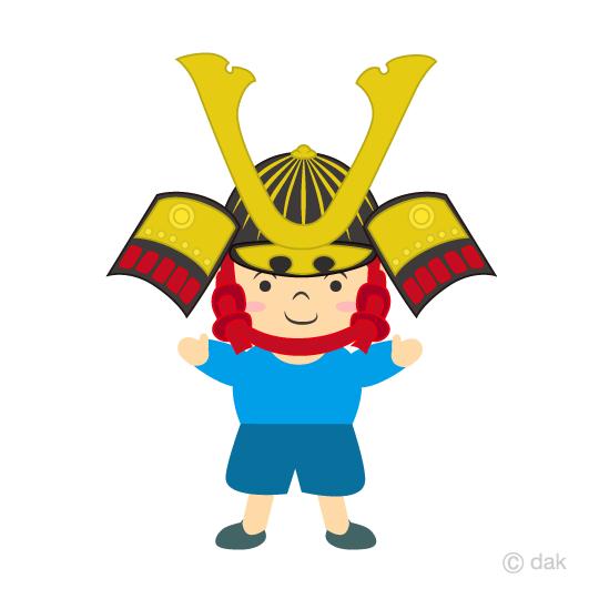 兜をかぶった男の子の無料イラスト素材イラストイメージ
