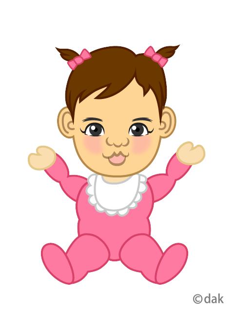 パッチリ目の可愛い女の子赤ちゃんの無料イラスト素材イラストイメージ