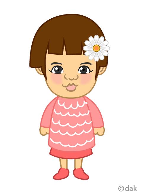 2歳の可愛い女の子の無料イラスト素材イラストイメージ