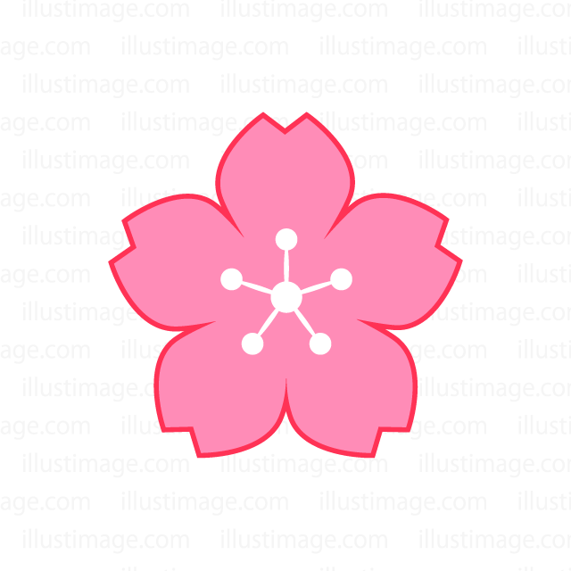 Simple cherry blossom flower mark