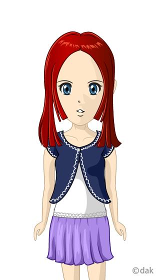 赤髪ロングのアニメ少女の無料イラスト素材イラストイメージ