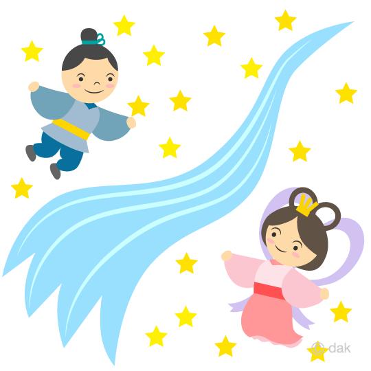 天の川と織姫彦星の無料イラスト素材 イラストイメージ