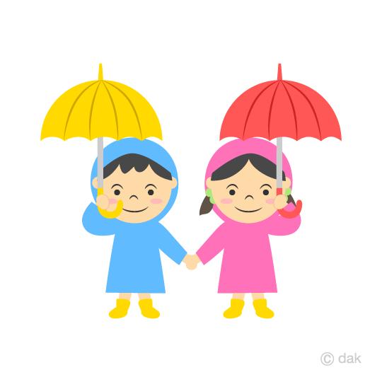 傘をさす子供の無料イラスト素材イラストイメージ