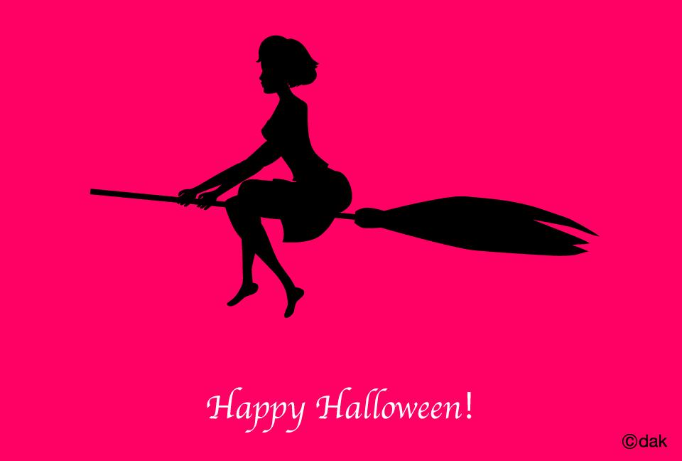 空飛ぶ女の子のハロウィンの無料イラスト素材イラストイメージ
