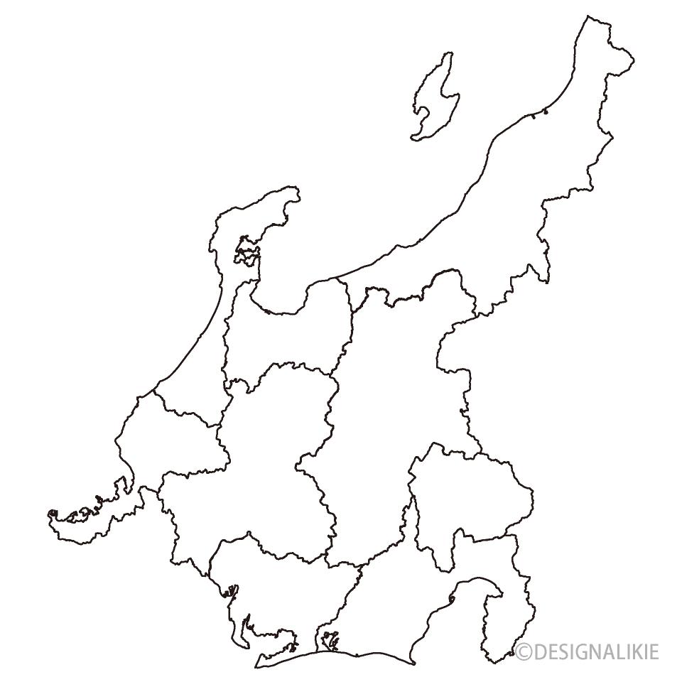 中部地方の白黒地図の無料イラス...