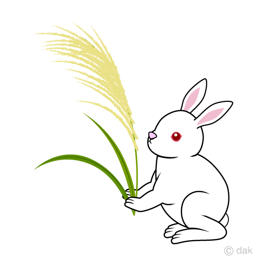 Japanese pampas grass and white rabbit