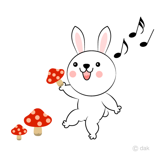 Rabbit taking mushrooms