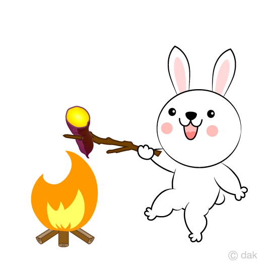 Rabbit character to make a bonfire