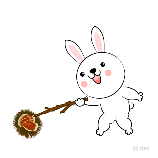 Rabbits picking up chestnuts