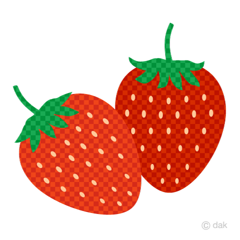 Two strawberries (plaid)