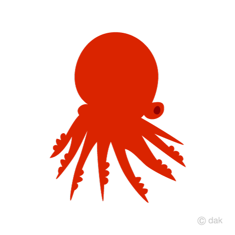 Red silhouette octopus