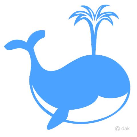 水色シルエットのクジラの無料イラスト素材イラストイメージ