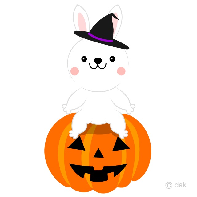 Rabbit and Halloween pumpkin